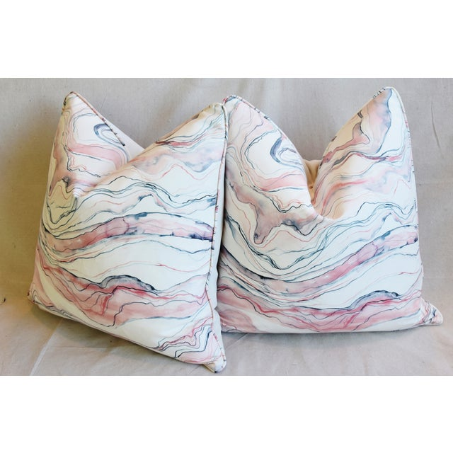 "Modern Blush-Pink Marbleized Feather/Down Pillows 22"" Square - Pair For Sale - Image 9 of 13"