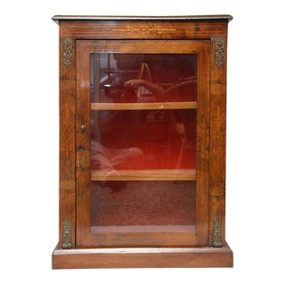 Antique Walnut Display or Music Cabinet For Sale
