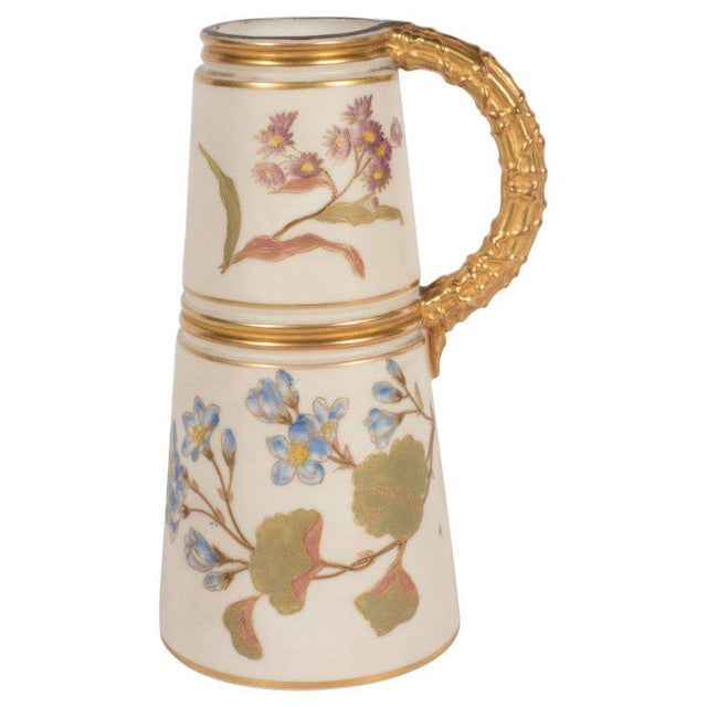 Hand-Painted Gilded Art Nouveau Bonn Royal Worcester Vase with Floral Motif For Sale - Image 11 of 11