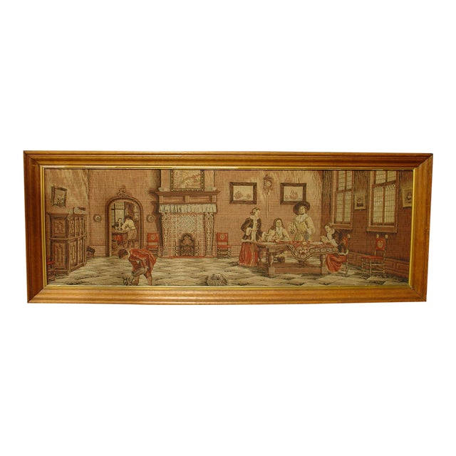 A Long Oak Framed French Tapestry Depicting an Interior Scene, Circa1900 For Sale