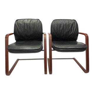Timeless Cantilever Leather Chairs - a Pair For Sale