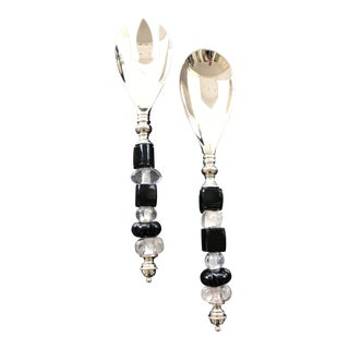 Silver Serving Spoons With Black and Clear Glass Beads - A Pair For Sale