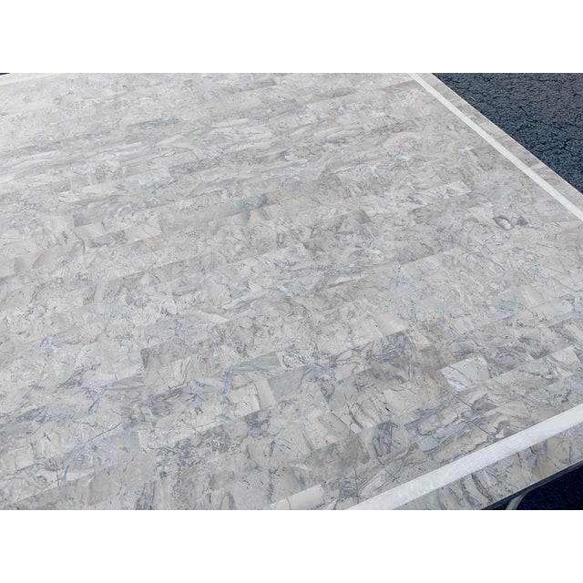 Maitland Smith Gaming Table in Tessellated Marble. America, Circa 1970 For Sale - Image 9 of 11