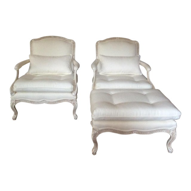Bergere Chairs With Ottoman - Set of 3 - Image 1 of 11