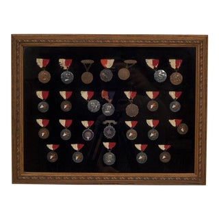 Framed Collection of Bronze and Silver Medallions C.1904 For Sale