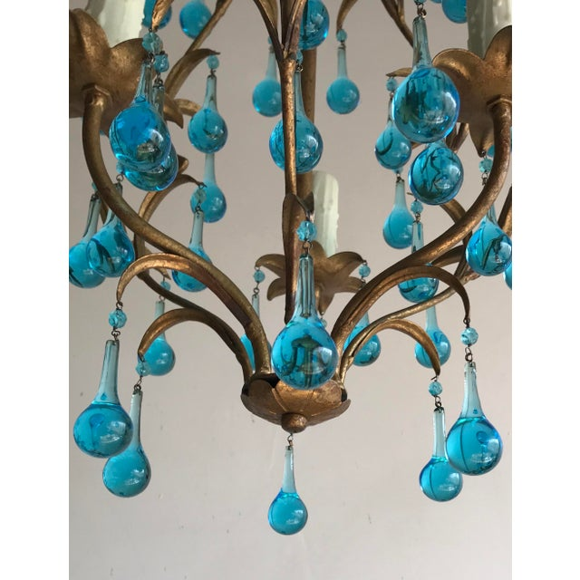 Italian Vintage Gilt Iron Chandelier With Aqua Drops For Sale In Los Angeles - Image 6 of 6