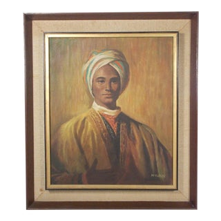 Mid-Century Indian Man Portrait Oil Painting on Canvas With Two Tier Framing For Sale