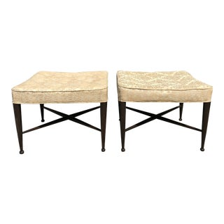 1950s Edward Wormley for Dunbar X-Base Stools - a Pair For Sale