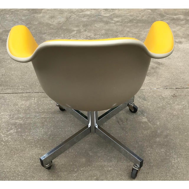 Vintage Mid Century Yellow Eames Style Shell Rolling Desk Chair For Sale - Image 4 of 13
