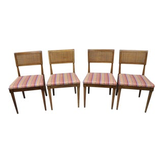 1960s Vintage Mid Century Modern Walnut Paul McCobb Style Dining Chairs - Set of 4