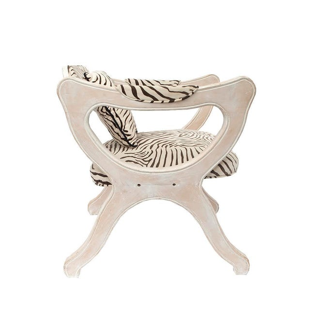 This pair of Hollywood Regency Esperanto chairs in zebra velvet set the stage for intimate conversation. The open-side...
