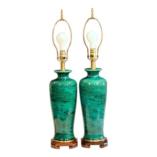 Bitossi Londi Italian Raymor Frederick Cooper Pottery Green Marbled Lamps - a Pair For Sale