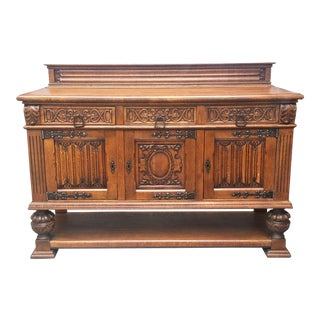 French Oak Gothic Renaissance Revival Carved Sideboard For Sale
