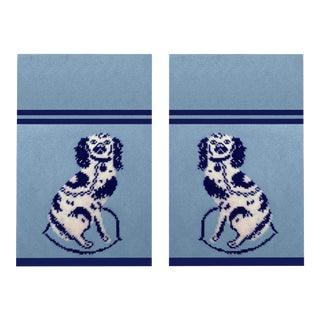 Custom Made Staffordshire Blue Linen Cotton Tea Towels - a Pair For Sale
