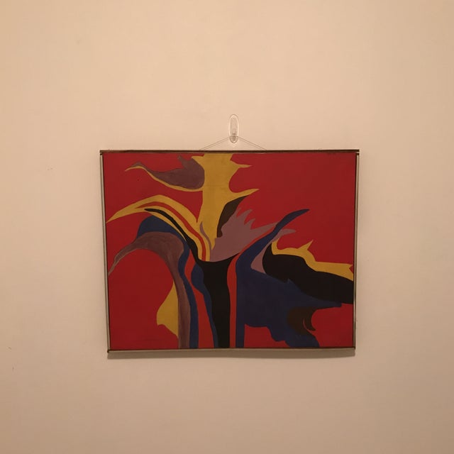 Mid-Century Modern Red Abstract Painting - Image 2 of 5