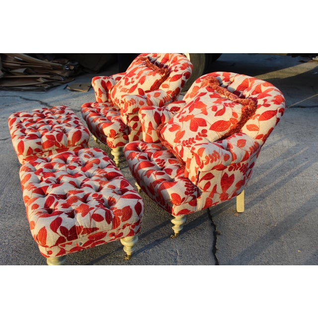 Set of Two Contemporary Club Chairs With Ottomans in Cream With Red Leaf Upholstery. Blanket wrapped may be less...