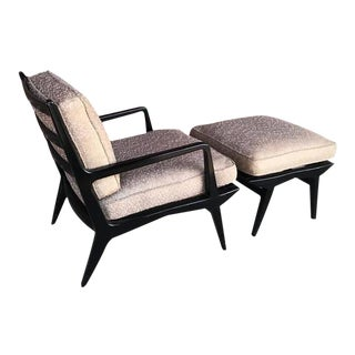 1960s Carlo De Carli Lounge Chair and Ottoman - a Pair For Sale