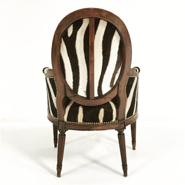 Louis XVI Style Walnut Bergere in Zebra Hide - Image 5 of 7