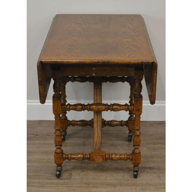 1970s Baker Vintage Jacobean Style Oak Dropleaf High Low Adjustable Coffee Serving Table For Sale - Image 5 of 13