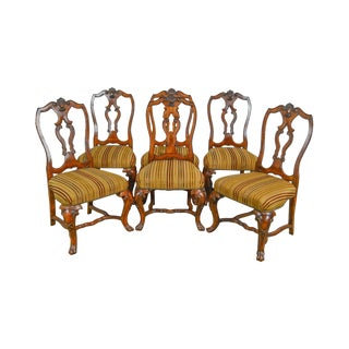 Henredon Castellina Torino Romanesque Finish Set of 6 Tuscan Carved Dining Chairs For Sale