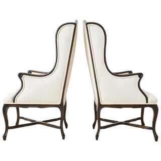 French Louis XV Style Carved Wing Chairs - a Pair For Sale