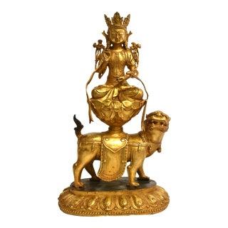 Late 19th Century Gilt Bronze White Tara on High Lotus For Sale