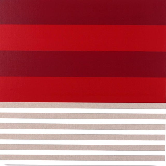 This contemporary abstract painting by American artist Brandon Woods features a layers of translucent reds and stripes of...