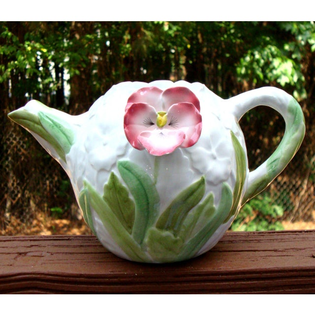 White Green & Pink Porcelain Floral Teapot - Image 5 of 11