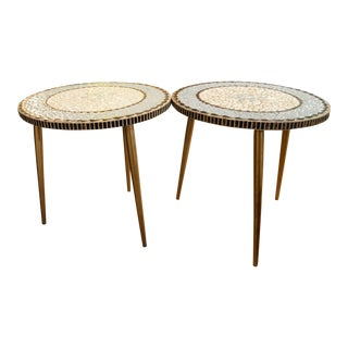 Vintage 1950s Mid Century Modern Pair of Brass Tripod Mosaic Side Tables For Sale