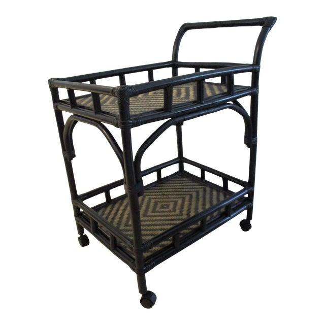 Black & Tan Bamboo & Rattan Rolling Bar Cart For Sale