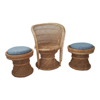 Late 20th Century Woven Bamboo Spun Peacock Chair and Matching Stools - Set of 3 For Sale