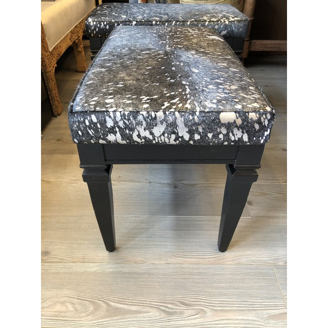 For a little something unexpected, the upholstered seat of this vintage stained black bench has been covered in black &...