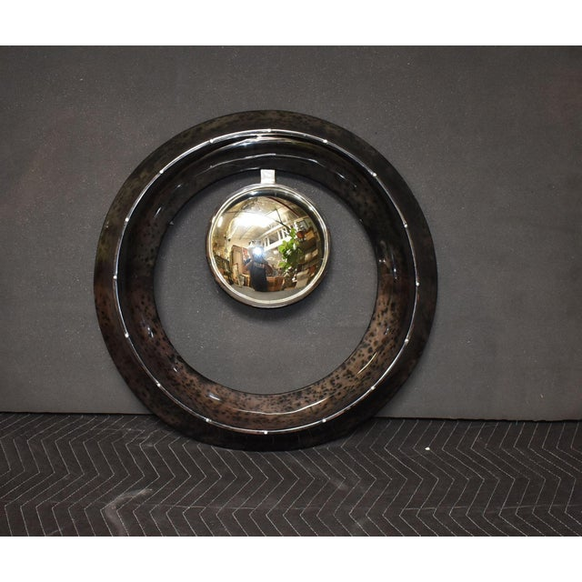 Mid-Century Modern Parchment Convex Mirror For Sale - Image 3 of 10