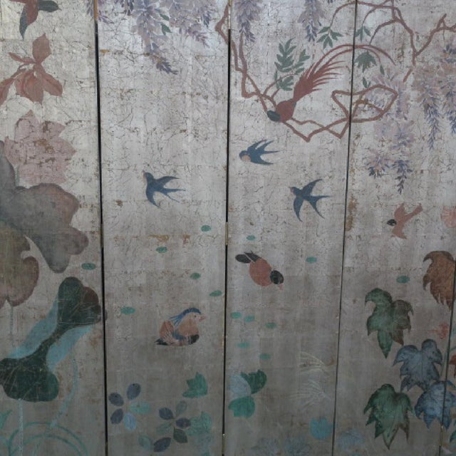 Chinoiserie Silver Leaf Six-Panel Screen in Max Kuehne Manner For Sale - Image 3 of 7