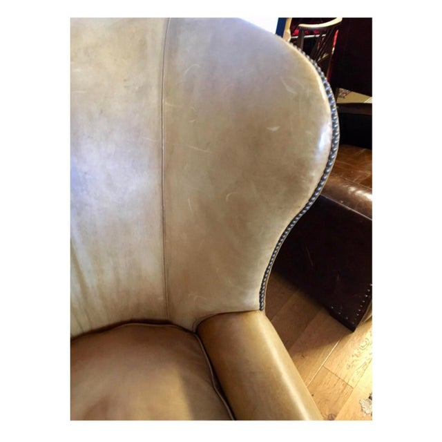 Ralph Lauren Ralph Lauren Signed Large Leather Nailhead Wingback Chair For Sale - Image 4 of 11