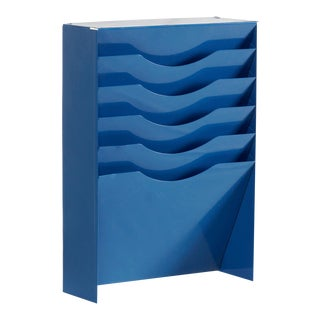 Vintage Vertical File Holder/ Magazine Rack Refinished in Blue For Sale