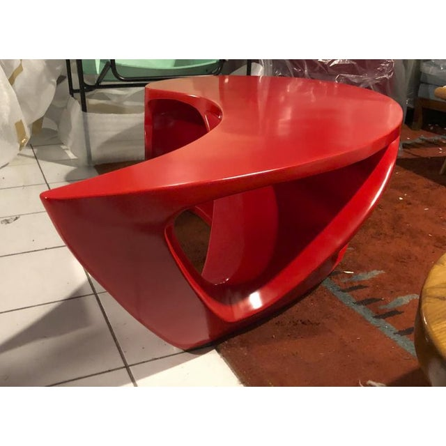 Boomerang Shaped Red Abstract Coffee Table For Sale - Image 4 of 7
