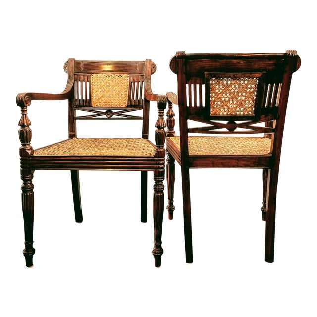 Pair Sheraton Style Hand-Caned and Carved Indonesian Rosewood Raffles Armchairs For Sale