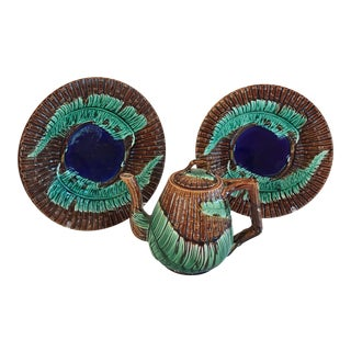 Majolica Fern and Bamboo Plates & Teapot - Set of 3 For Sale