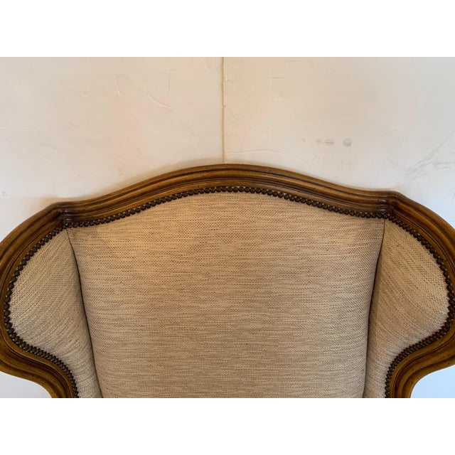 Handsome Louis XV Style Bergere With Neutral Taupe Rose Tarlow Upholstery For Sale - Image 4 of 12