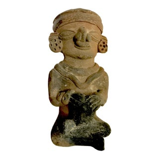 Pre-Columbian Mayan or Aztec Seated Terracotta Figurine For Sale