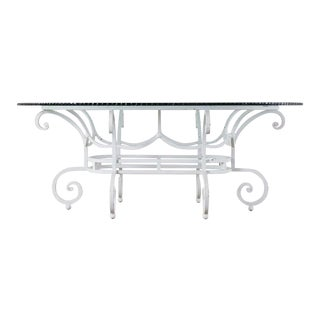 Oval Wrought Iron Painted Garden Dining Table For Sale