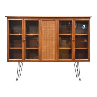 Walnut and Cane Mid Century Bookcase For Sale
