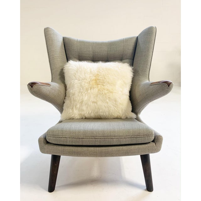 Wood Important Pair of Hans Wegner for a.p. Stolen Papa Bear Chairs With Ottomans For Sale - Image 7 of 13