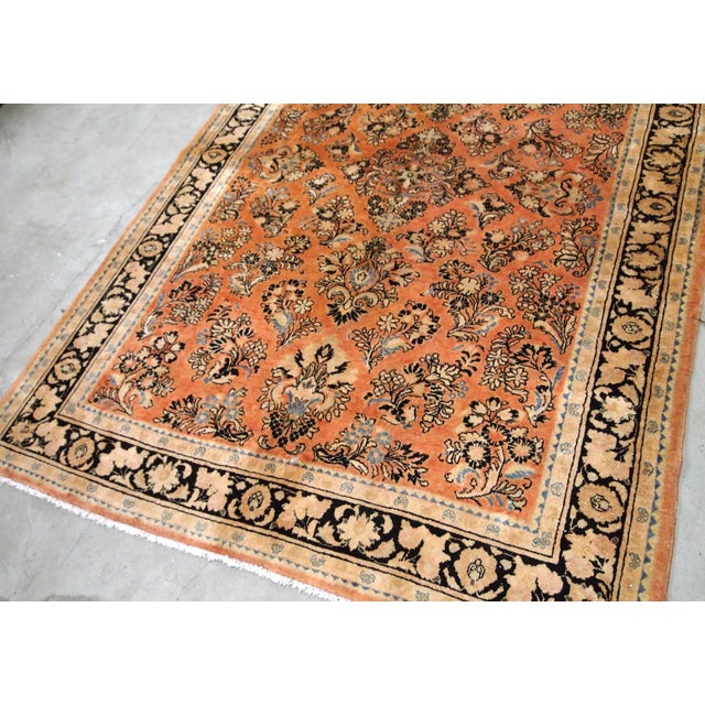 Textile 1920s, Handmade Antique Persian Sarouk Rug 5.2' X 8.3' - 1b704 For Sale - Image 7 of 10