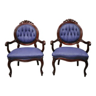 Antique Victorian Rose Carved Mahogany Frame Fireside Parlor Arm Chairs - a Pair For Sale
