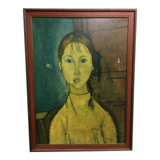 1958 A. Modigliani Girl With Braids Framed Lithograph For Sale