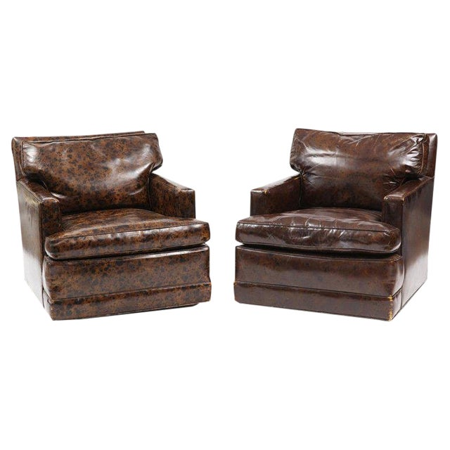 Pair of Oil Drop Leather and Down Club Chairs For Sale