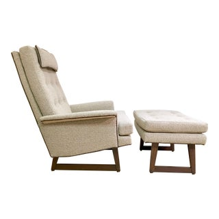 Vintage 1960s Newly Upholstered Lounge Chair & Ottoman For Sale
