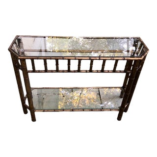 Hollywood Regency Faux Bamboo Gilt Metal Console Table For Sale